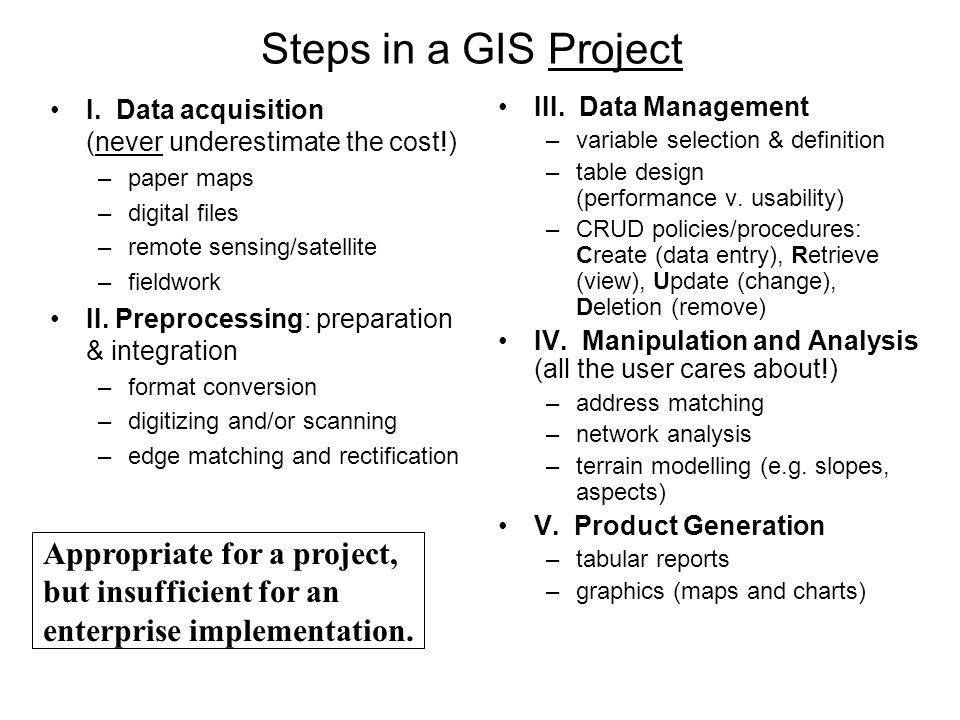Steps in a GIS Project I. Data acquisition (never underestimate the cost!) paper maps. digital files.