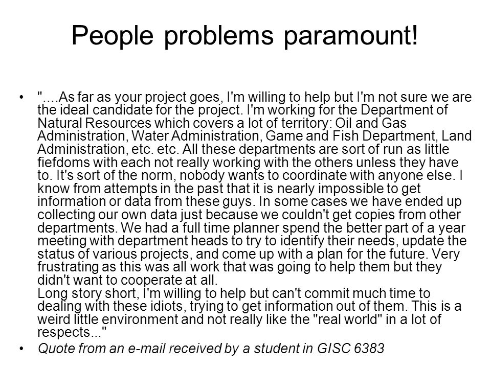People problems paramount!