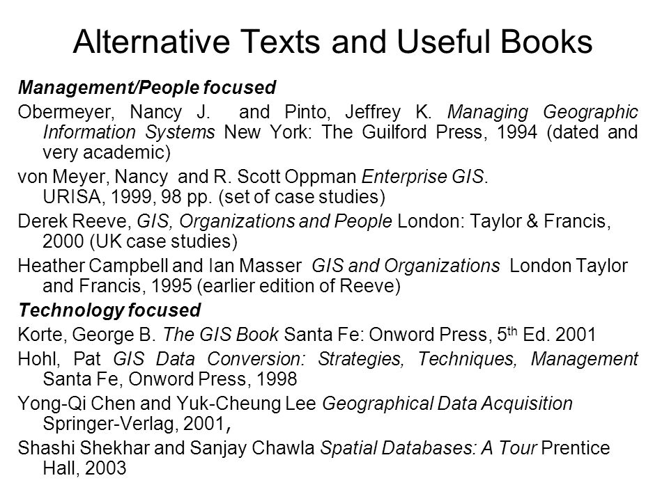 Alternative Texts and Useful Books