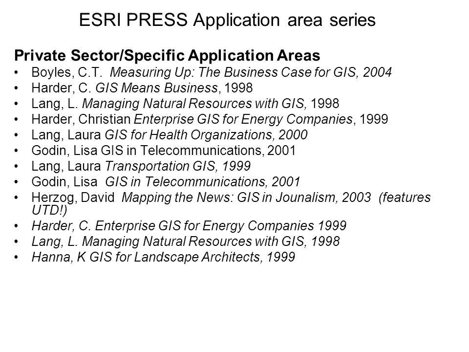 ESRI PRESS Application area series