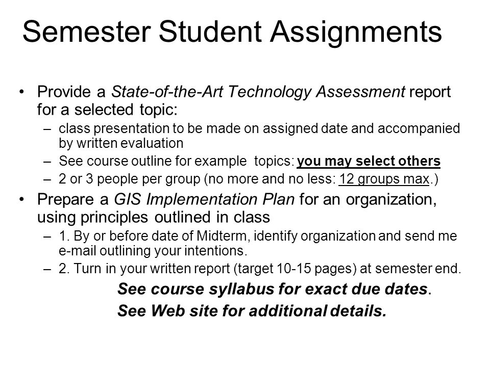 Semester Student Assignments