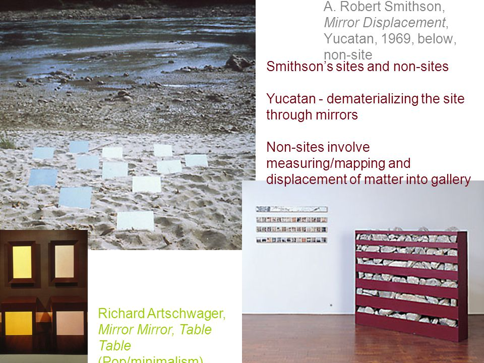 A. Robert Smithson, Mirror Displacement, Yucatan, 1969, below, non-site