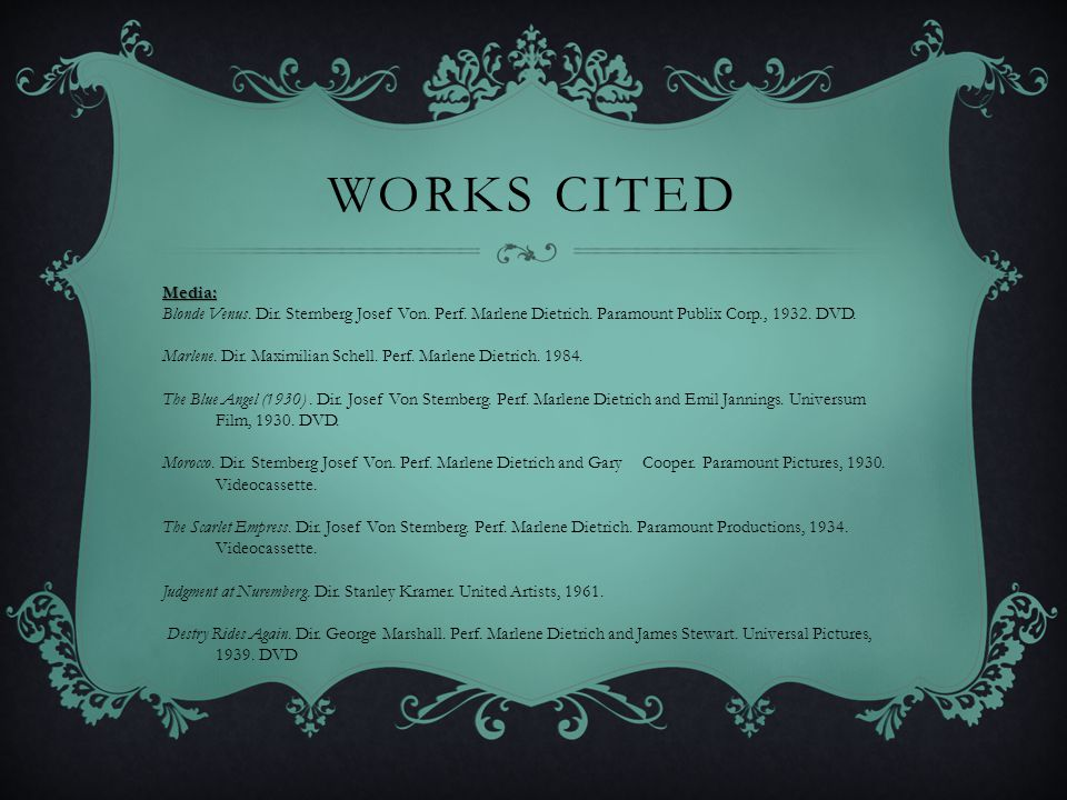 Works Cited Media: