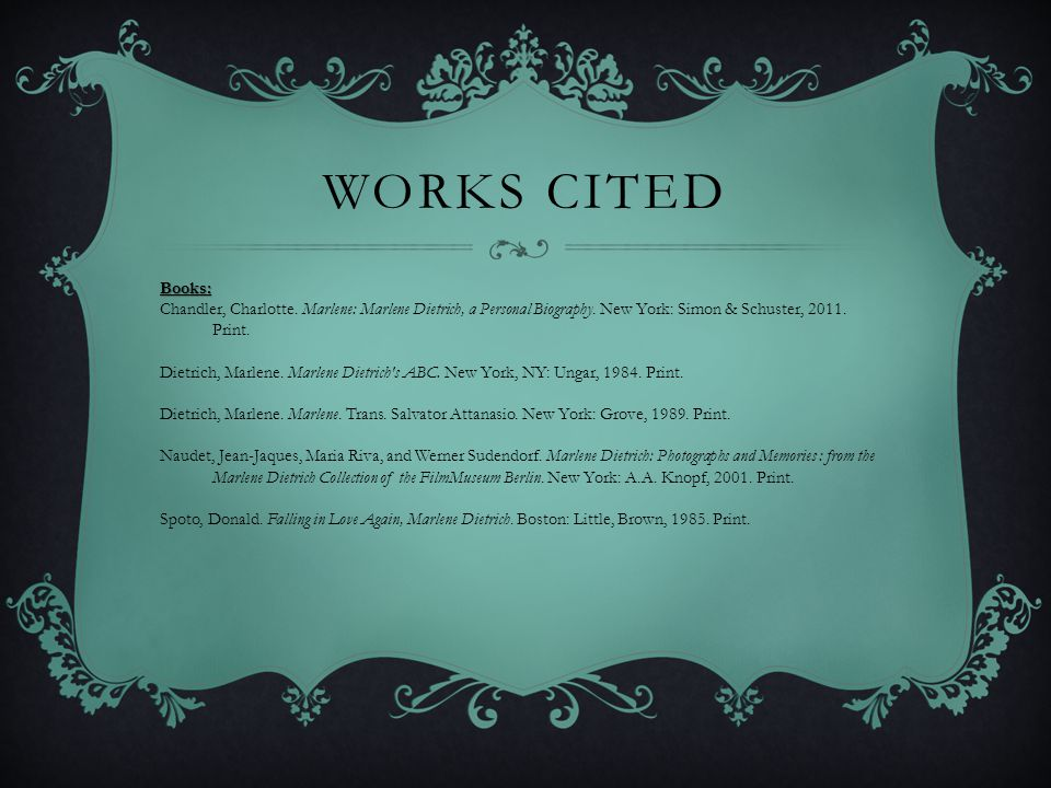 Works Cited Books: