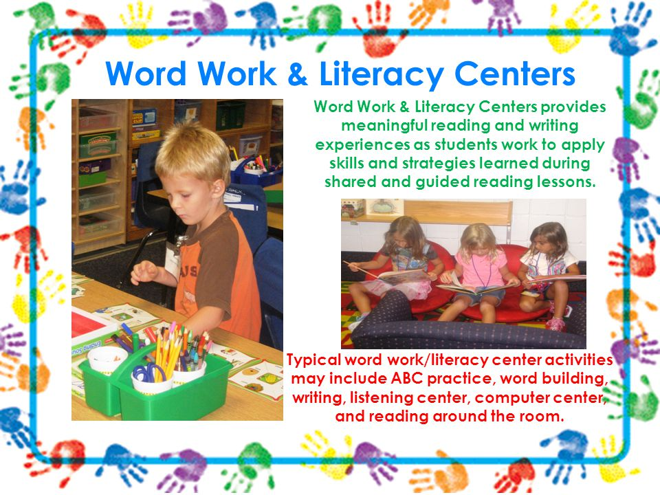 Typical word work/literacy center activities