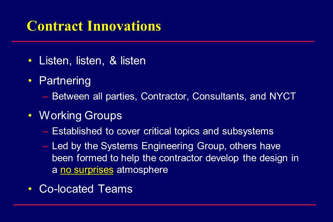 Contract Innovations Listen, listen, & listen Partnering