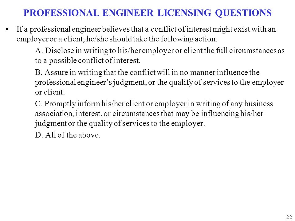 PROFESSIONAL ENGINEER LICENSING QUESTIONS