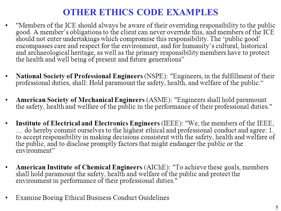 OTHER ETHICS CODE EXAMPLES