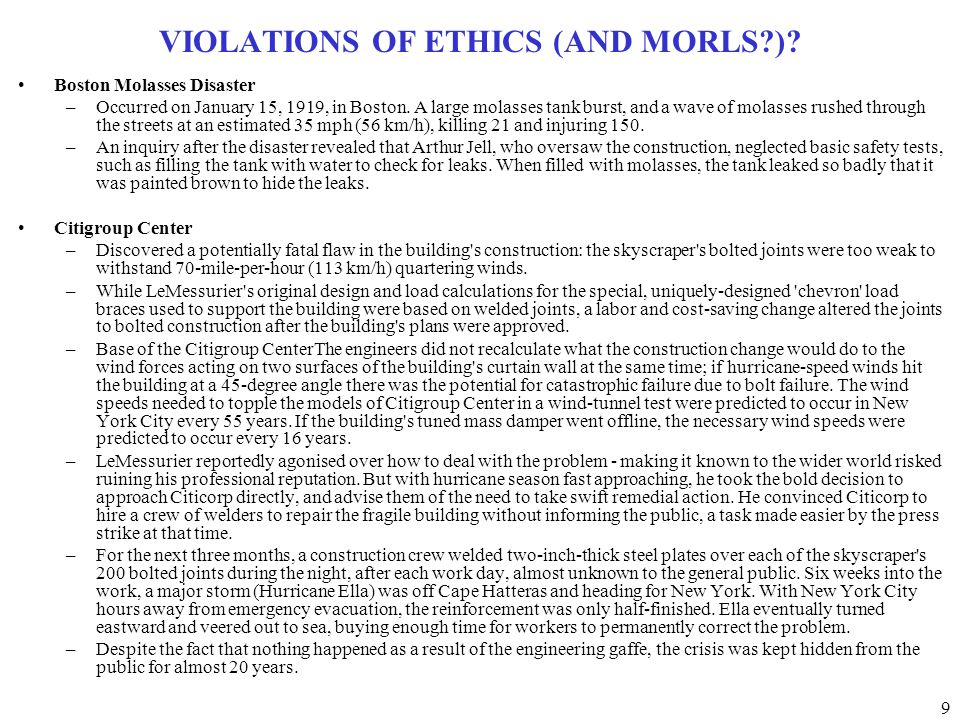 VIOLATIONS OF ETHICS (AND MORLS )