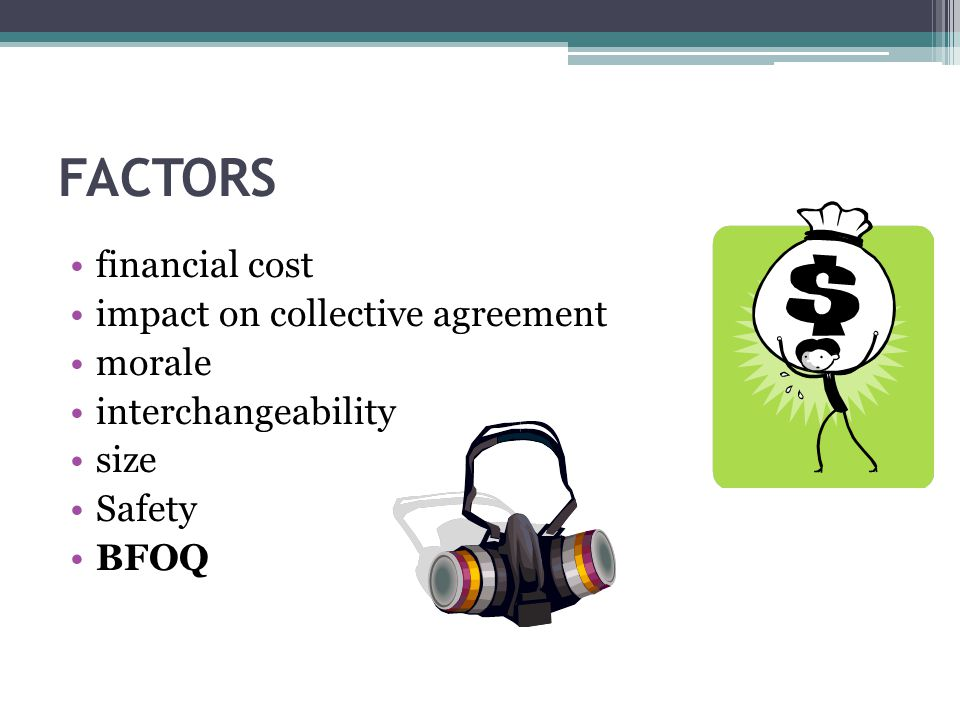 FACTORS financial cost impact on collective agreement morale