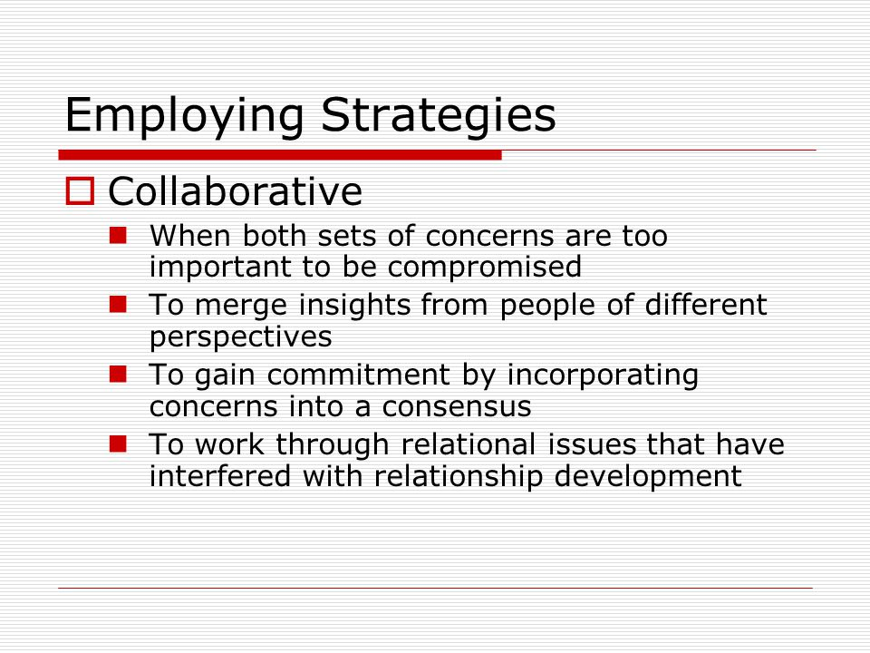 Employing Strategies Collaborative