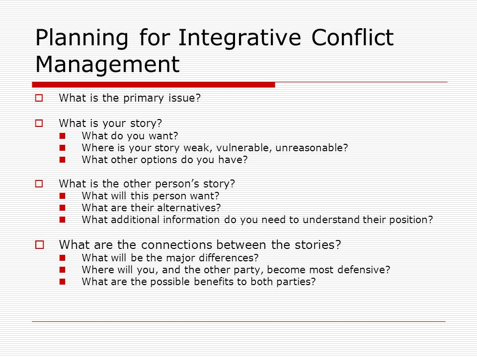 Planning for Integrative Conflict Management