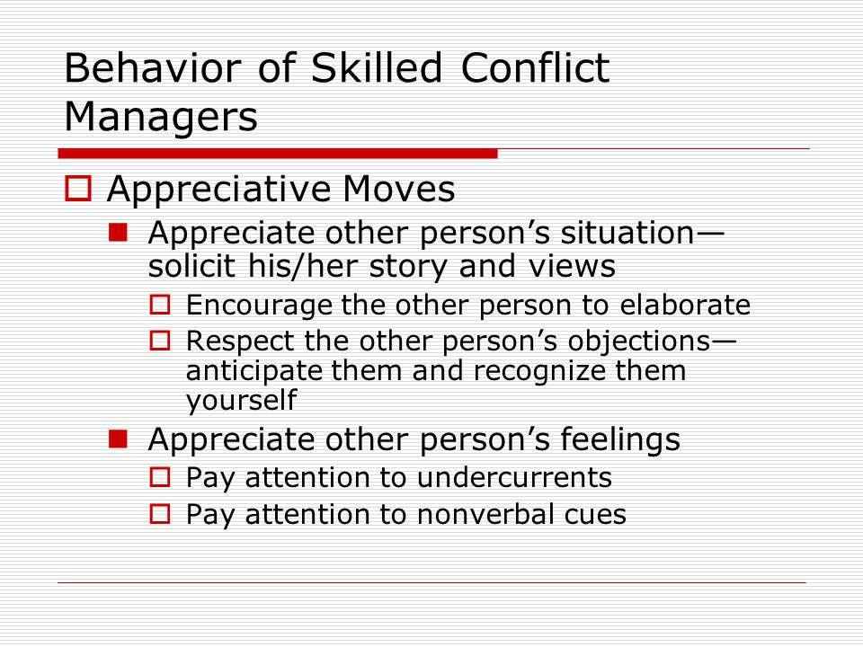 Behavior of Skilled Conflict Managers