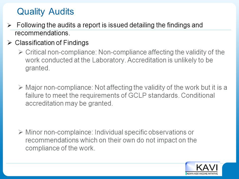 Quality Audits Classification of Findings