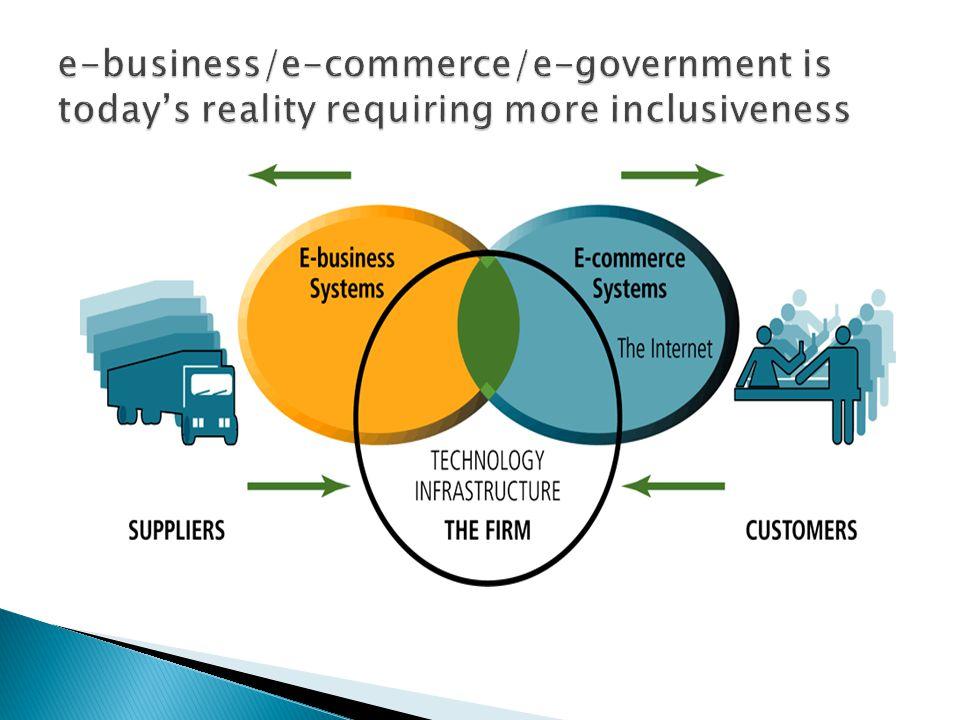 e-business/e-commerce/e-government is today's reality requiring more inclusiveness