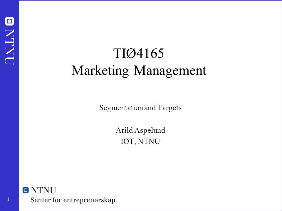 TIØ4165 Marketing Management