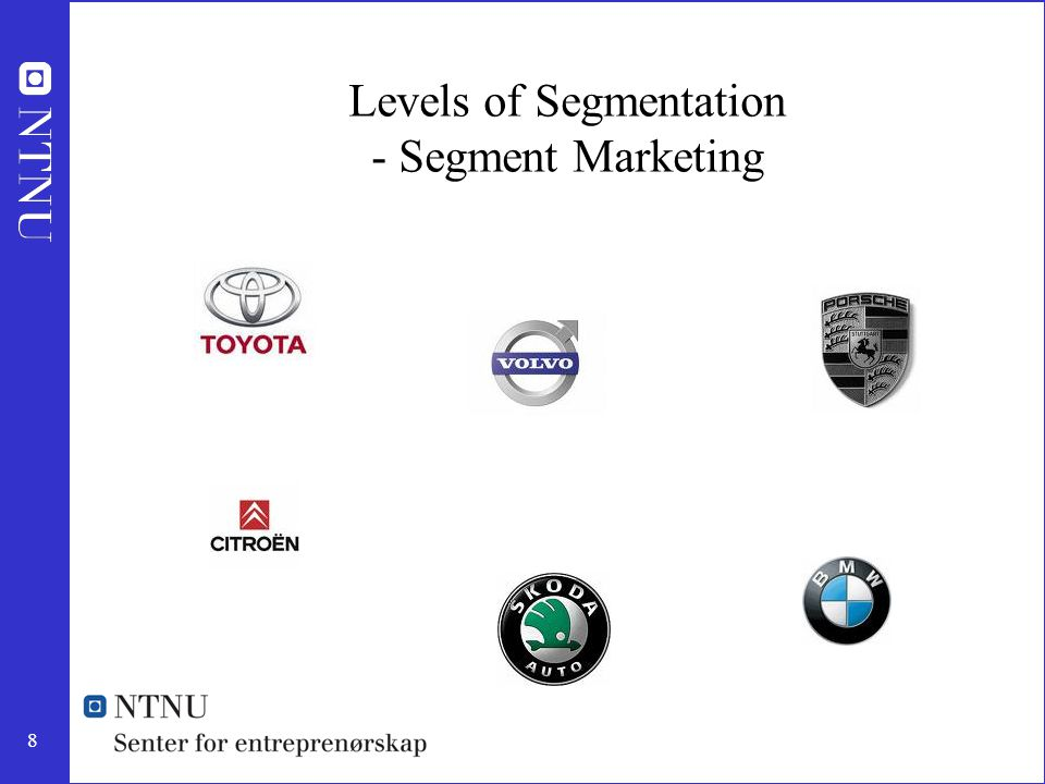 Levels of Segmentation - Segment Marketing