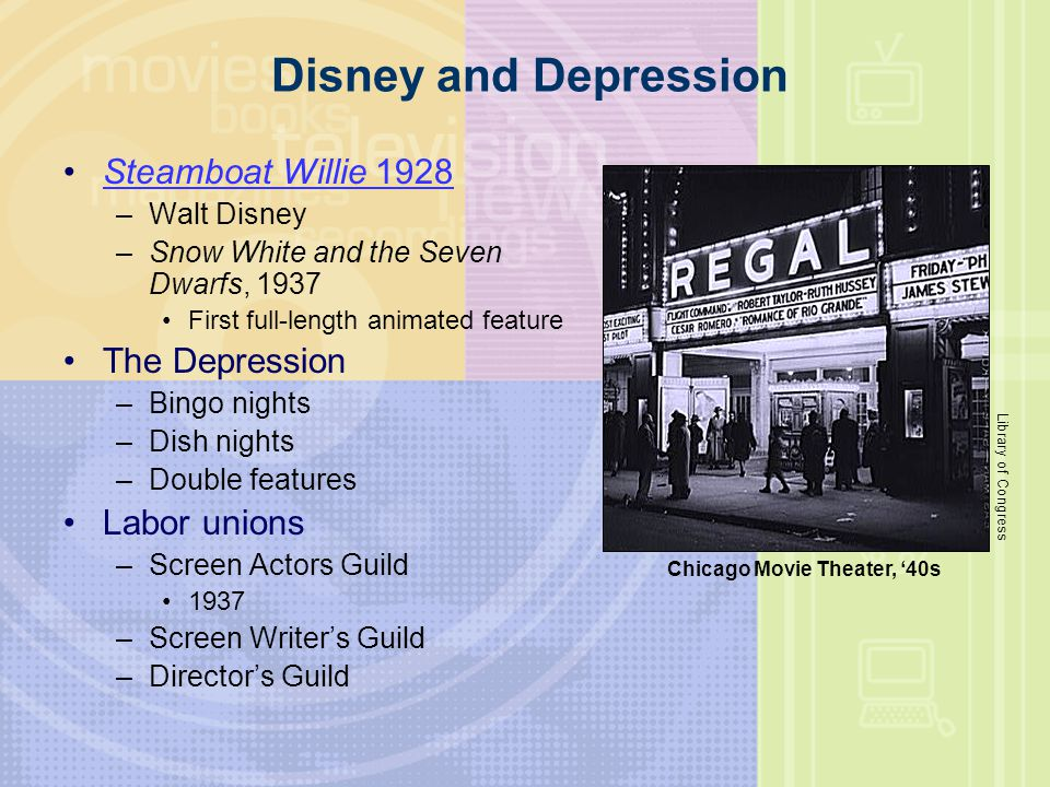 Disney and Depression Steamboat Willie 1928 The Depression