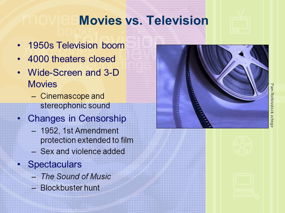 Movies vs. Television 1950s Television boom 4000 theaters closed