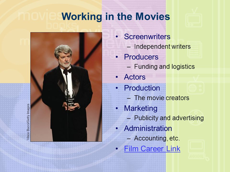 Working in the Movies Screenwriters Producers Actors Production