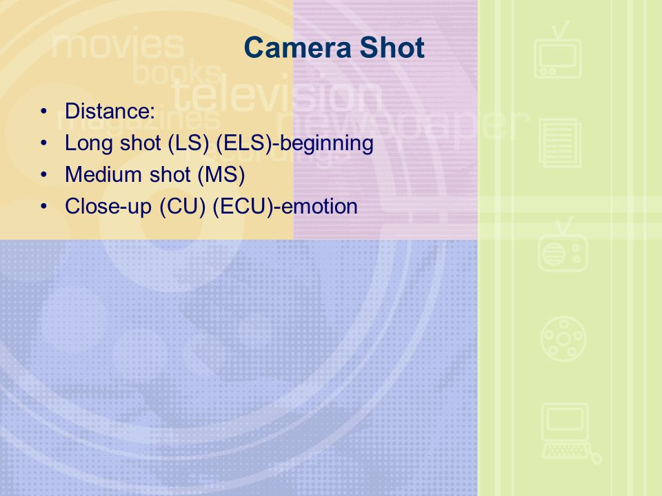 Camera Shot Distance: Long shot (LS) (ELS)-beginning Medium shot (MS)