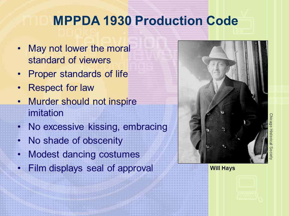 MPPDA 1930 Production Code May not lower the moral standard of viewers