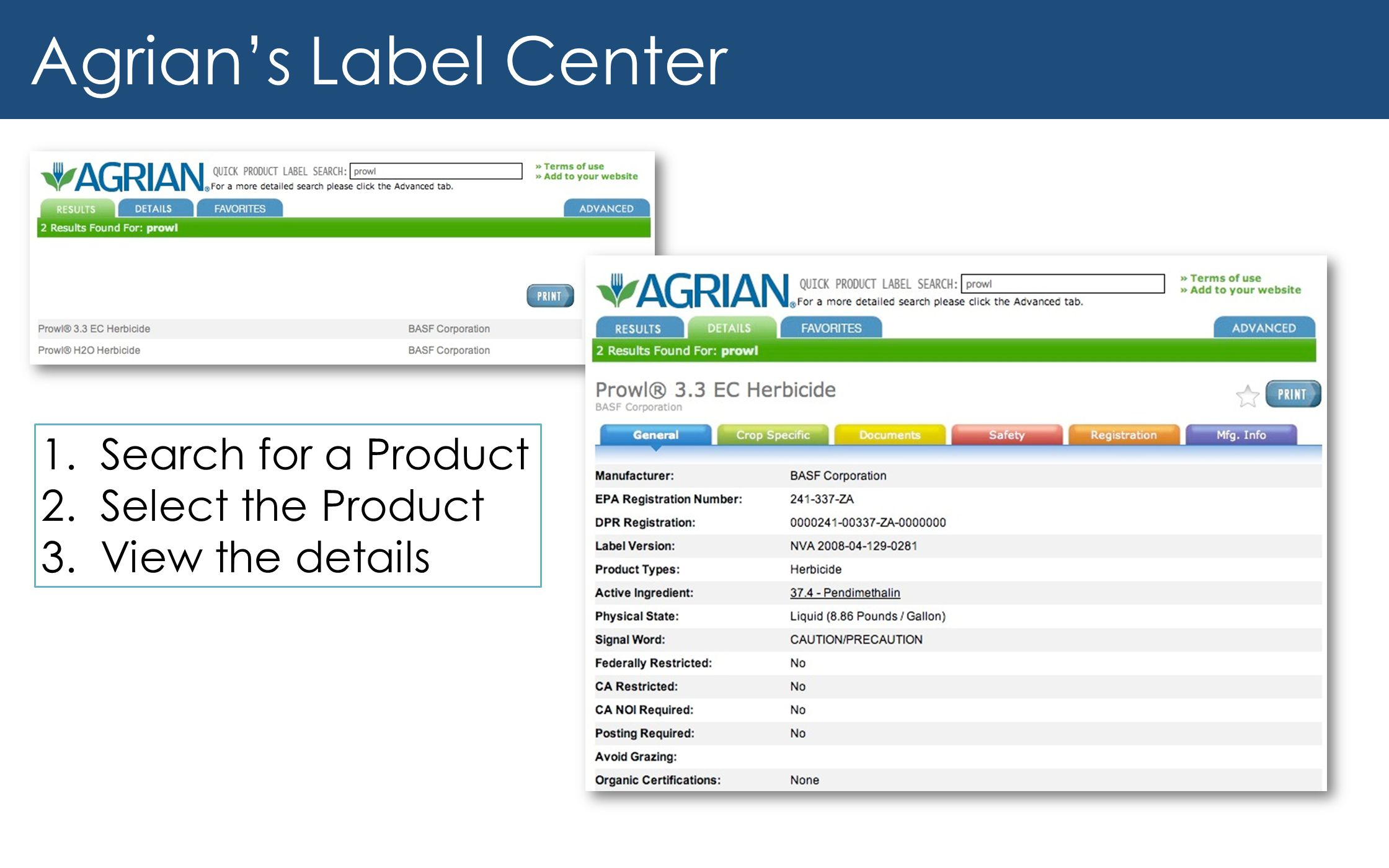 Agrian's Label Center Search for a Product Select the Product