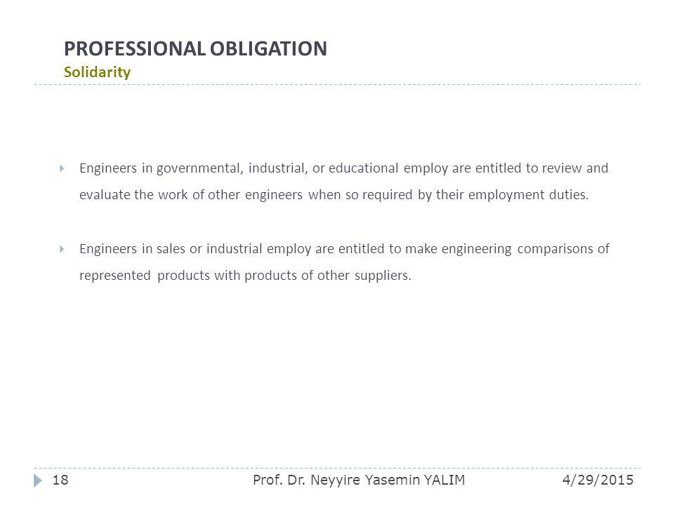 PROFESSIONAL OBLIGATION Solidarity