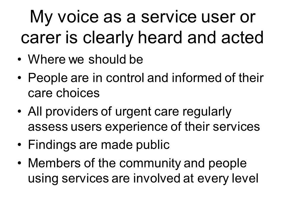 My voice as a service user or carer is clearly heard and acted