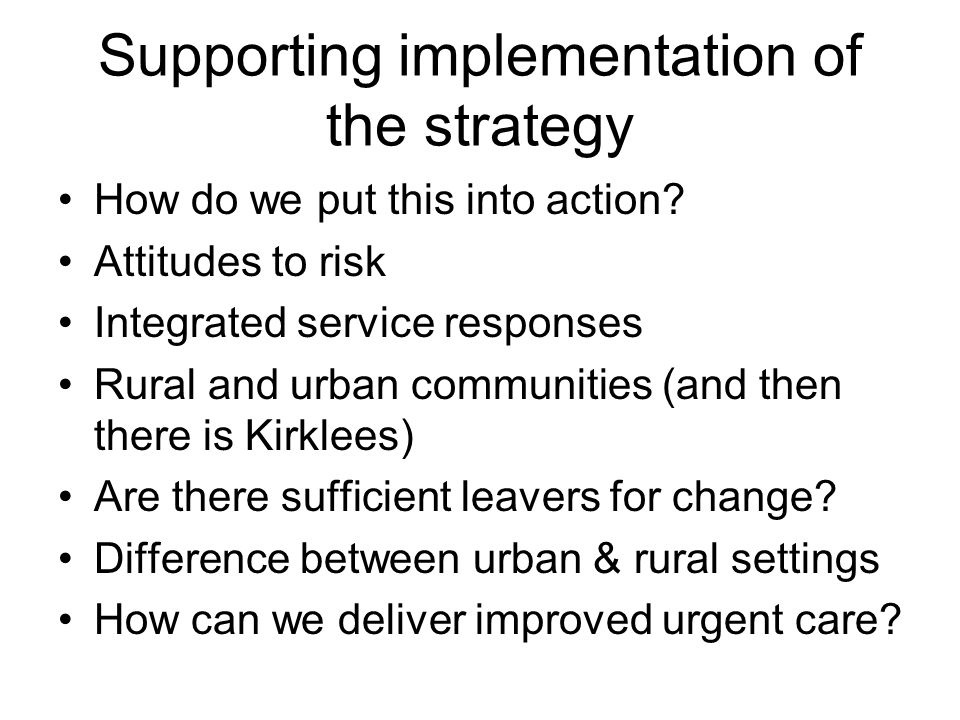 Supporting implementation of the strategy