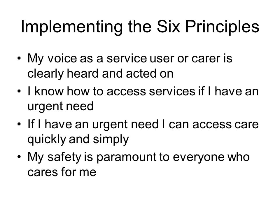 Implementing the Six Principles