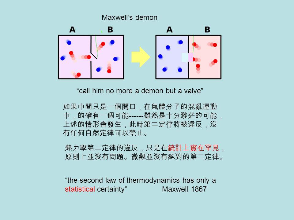 Maxwell's demon call him no more a demon but a valve 如果中間只是一個開口,在氣體分子的混亂運動中,的確有一個可能------雖然是十分渺茫的可能,上述的情形會發生,此時第二定律將被違反,沒有任何自然定律可以禁止。