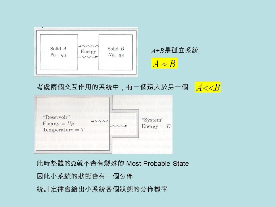A+B是孤立系統 考慮兩個交互作用的系統中,有一個遠大於另一個. 此時整體的Ω就不會有懸殊的 Most Probable State.