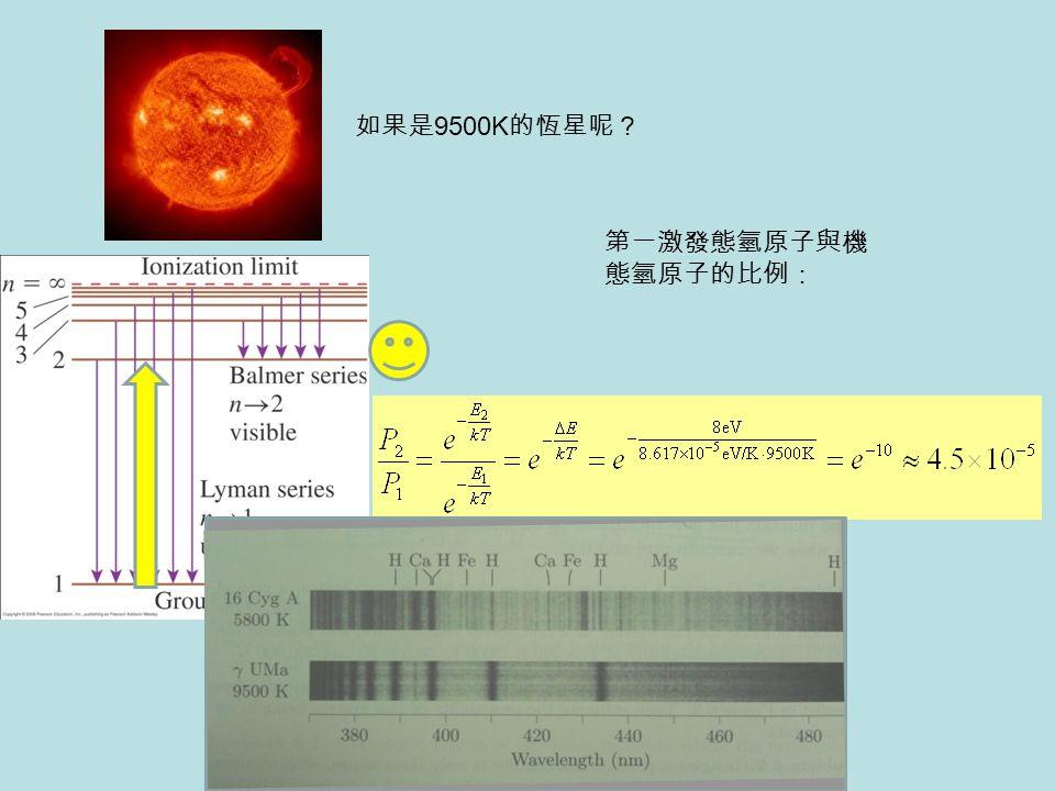 如果是9500K的恆星呢? 第一激發態氫原子與機態氫原子的比例: