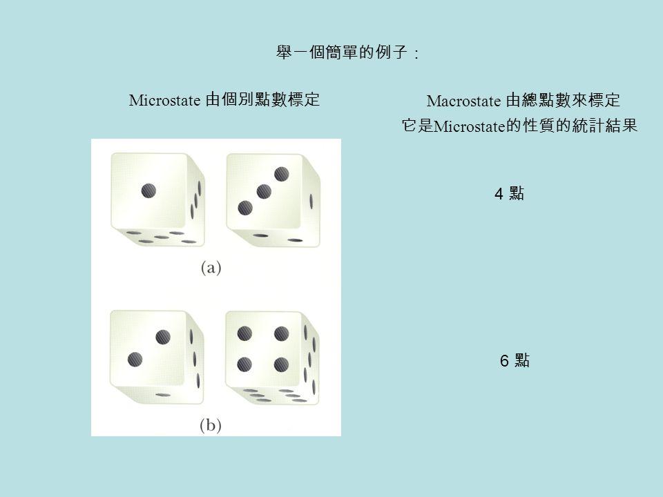 舉一個簡單的例子: Microstate 由個別點數標定 Macrostate 由總點數來標定 它是Microstate的性質的統計結果 4 點 6 點