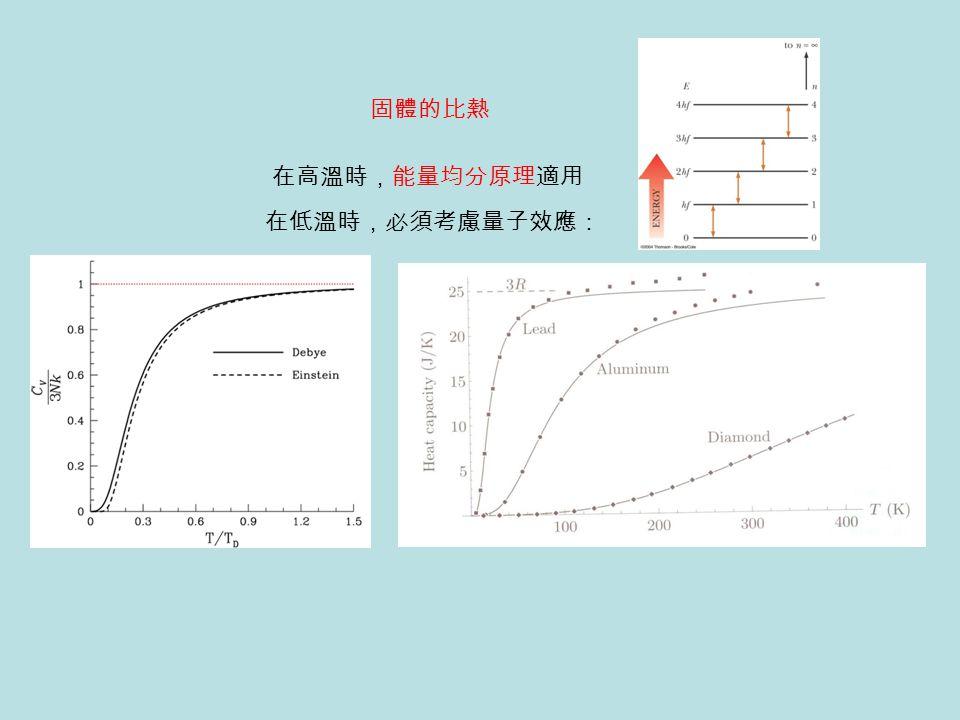 固體的比熱 在高溫時,能量均分原理適用 在低溫時,必須考慮量子效應: