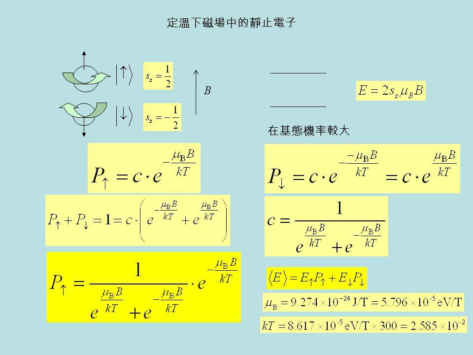 定溫下磁場中的靜止電子 B 在基態機率較大