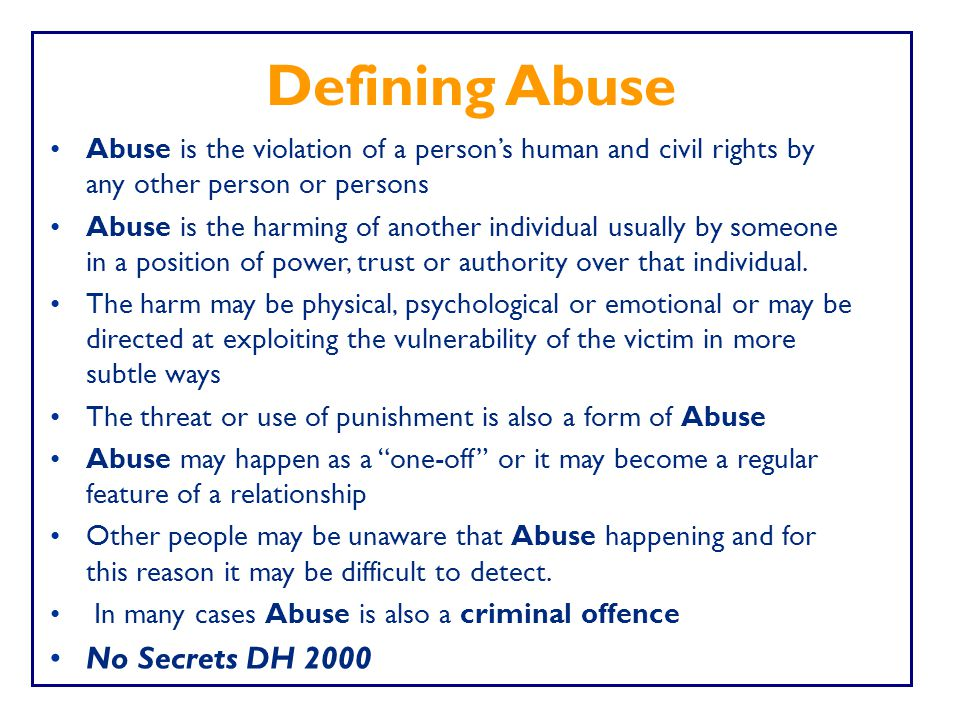 Defining Abuse No Secrets DH 2000