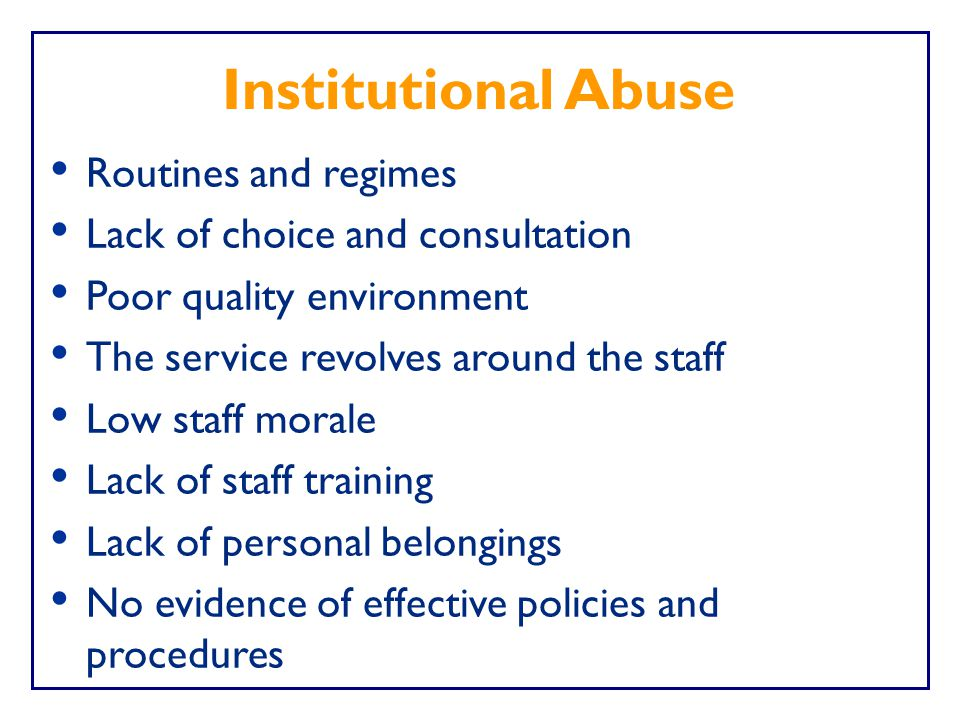 Institutional Abuse Routines and regimes