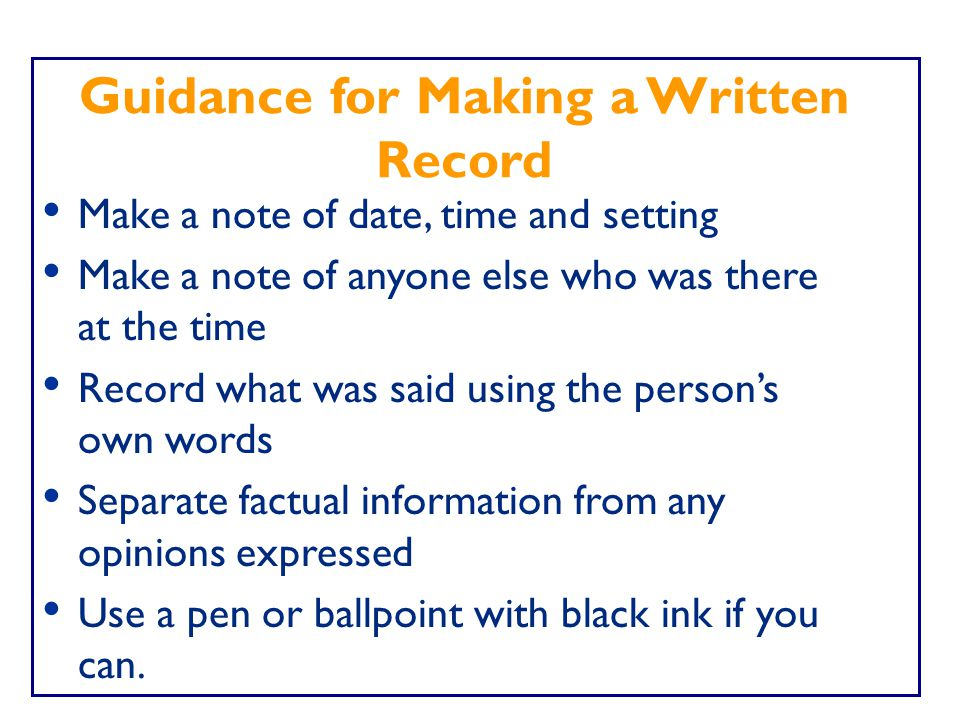 Guidance for Making a Written Record