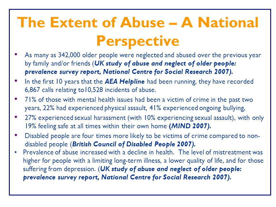 The Extent of Abuse – A National Perspective