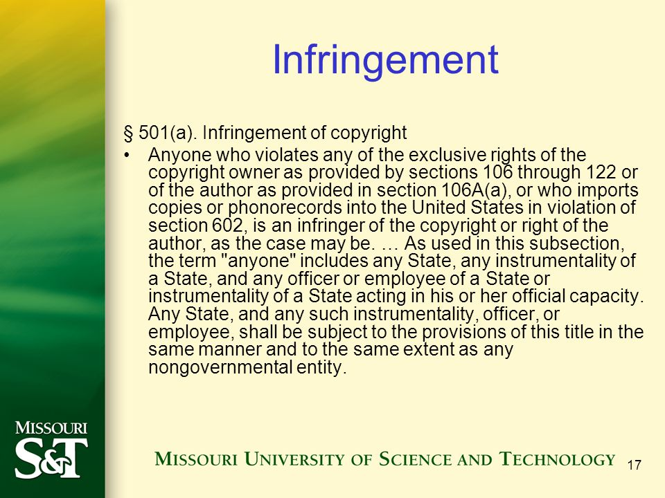 Infringement § 501(a). Infringement of copyright