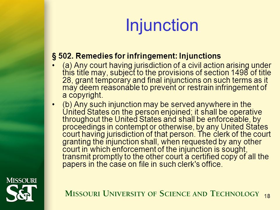 Injunction § 502. Remedies for infringement: Injunctions