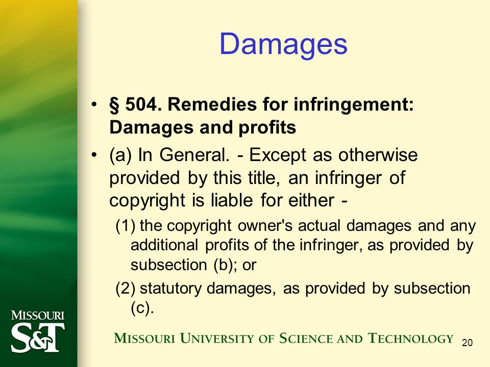 Damages § 504. Remedies for infringement: Damages and profits