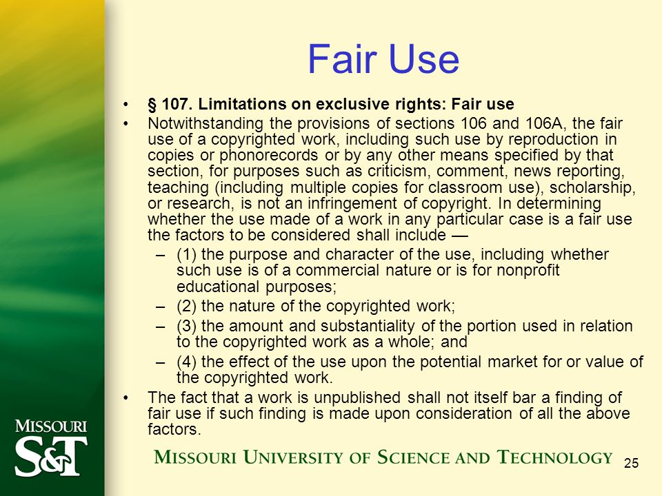 Fair Use § 107. Limitations on exclusive rights: Fair use