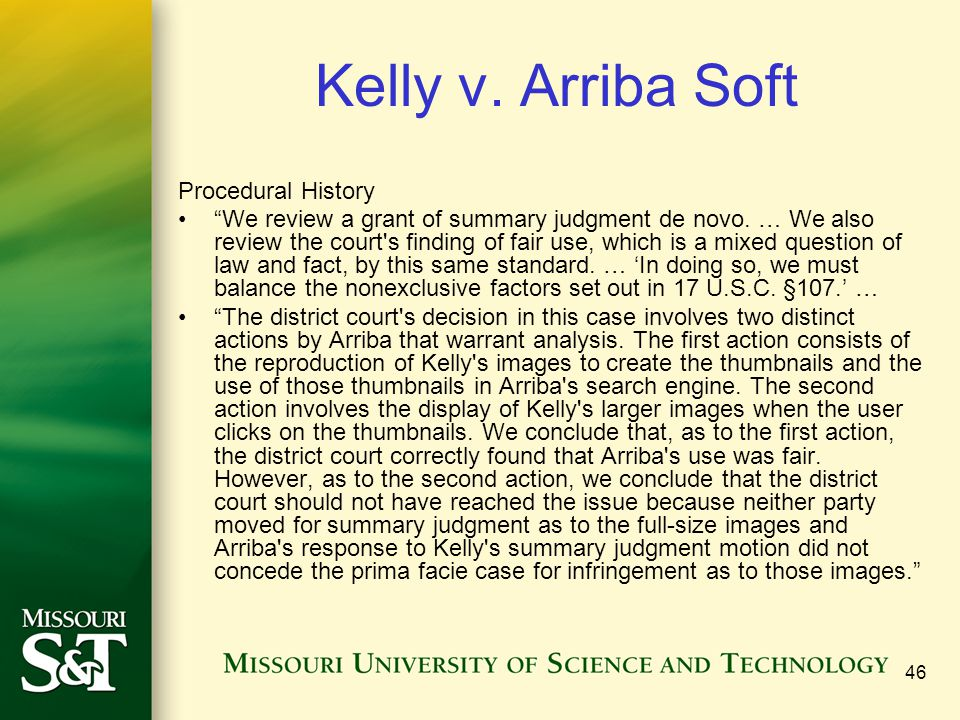 Kelly v. Arriba Soft Procedural History