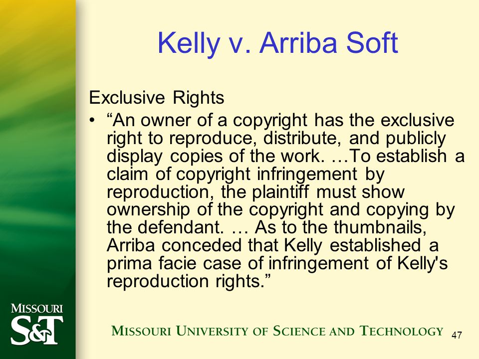 Kelly v. Arriba Soft Exclusive Rights