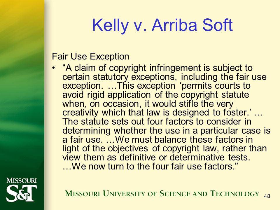 Kelly v. Arriba Soft Fair Use Exception
