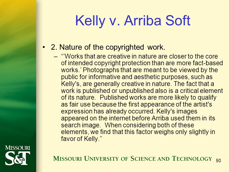 Kelly v. Arriba Soft 2. Nature of the copyrighted work.