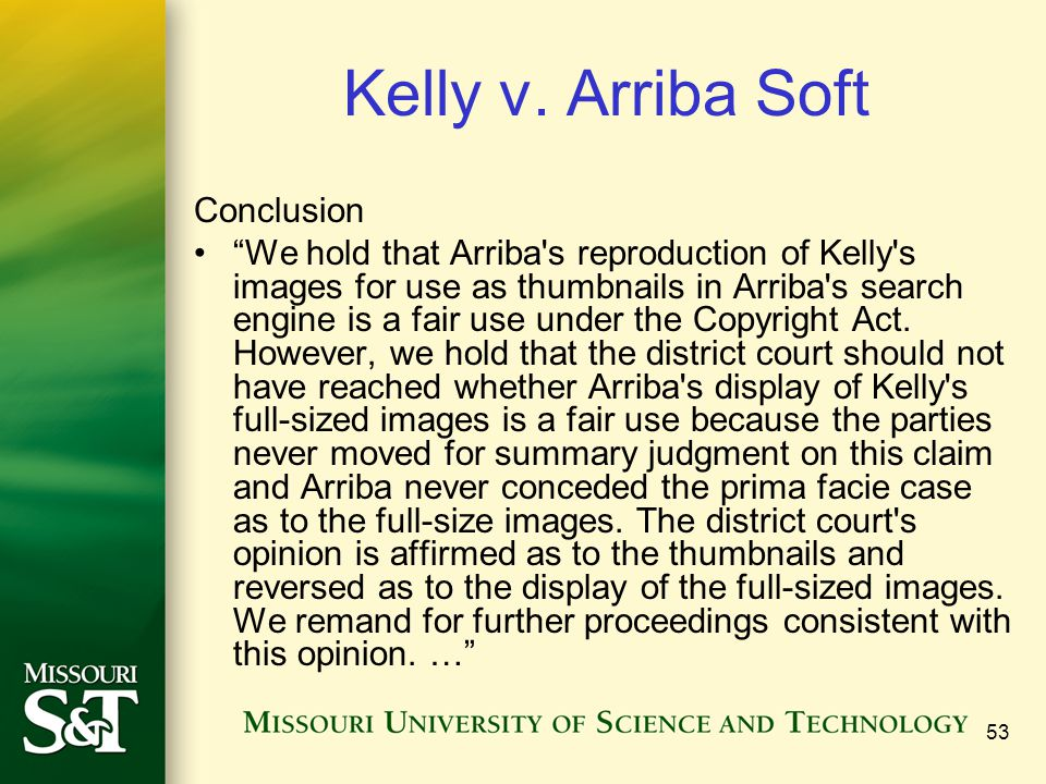 Kelly v. Arriba Soft Conclusion